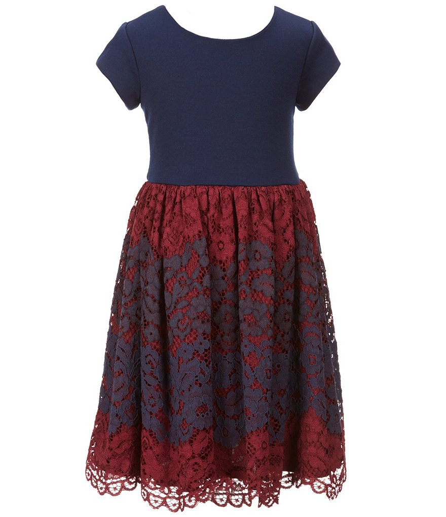 Bonnie Jean Little Girls 4T-6X Two-Tone Embroidered Lace Dress