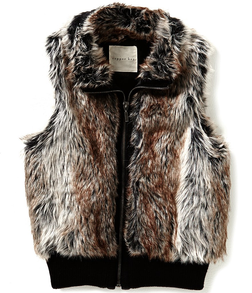 Copper Key Big Girls 7-16 Faux-Fur Ribbed Vest