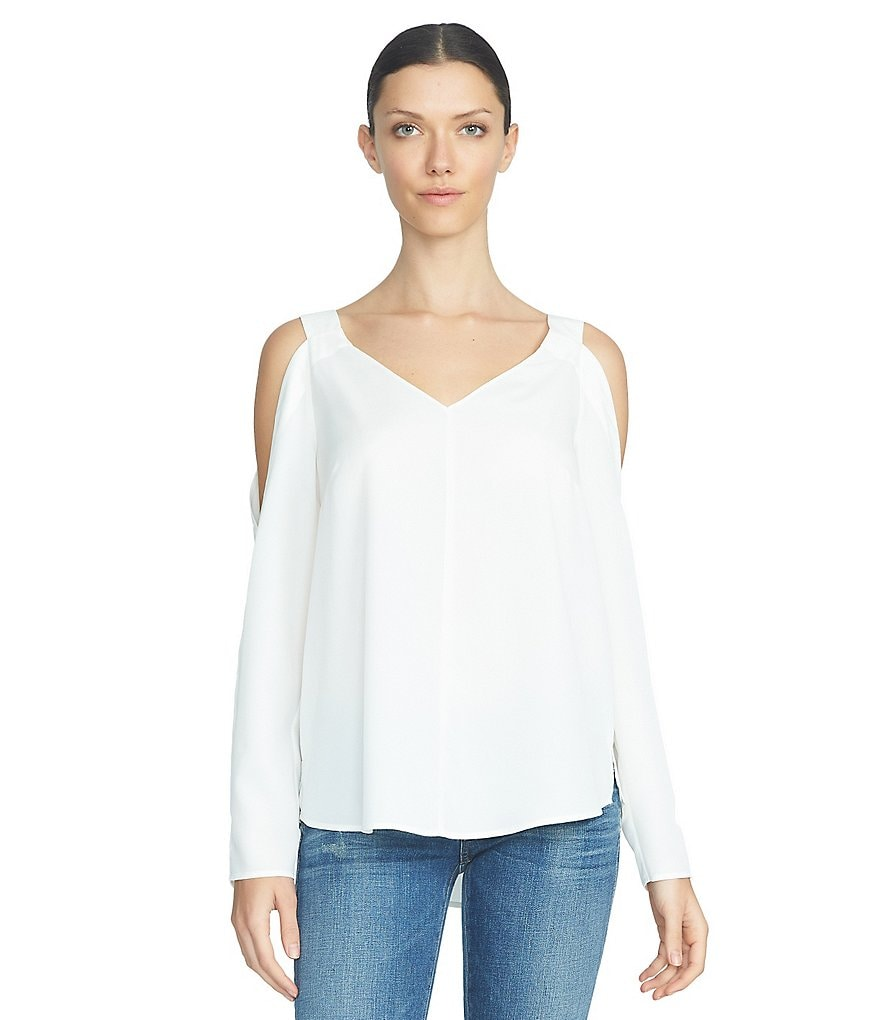 1. STATE Cold Shoulder V-Neck Blouse