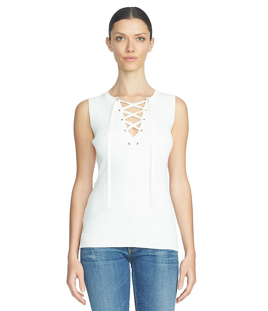 1. STATE Lace Up Neck Sleeveless Top