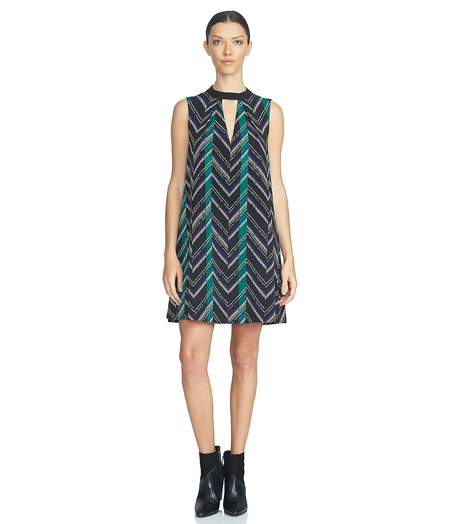 1. STATE Printed Choker-Neck Shift Dress