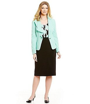 Kasper Stretch Crepe Wing Collar Jacket & Crepe Skimmer Skirt