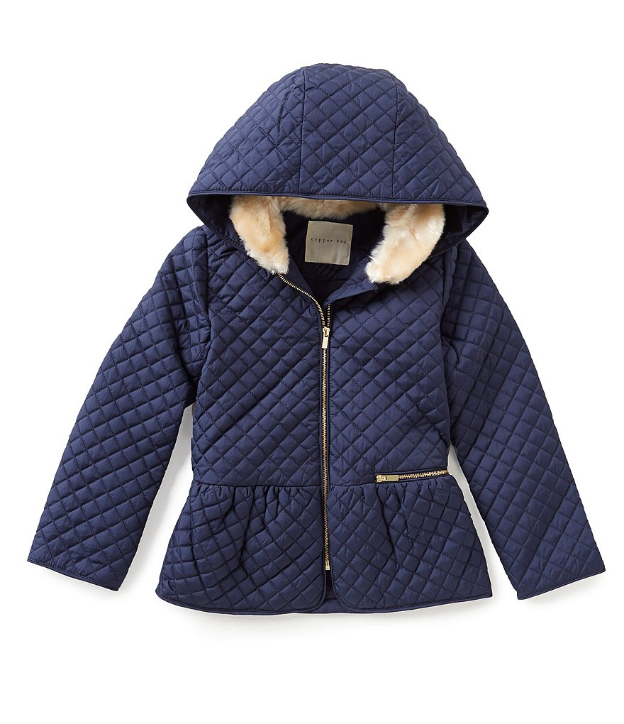 Copper Key Little Girls 2T-6X Faux Fur Trimmed Quilted Bomber Jacket