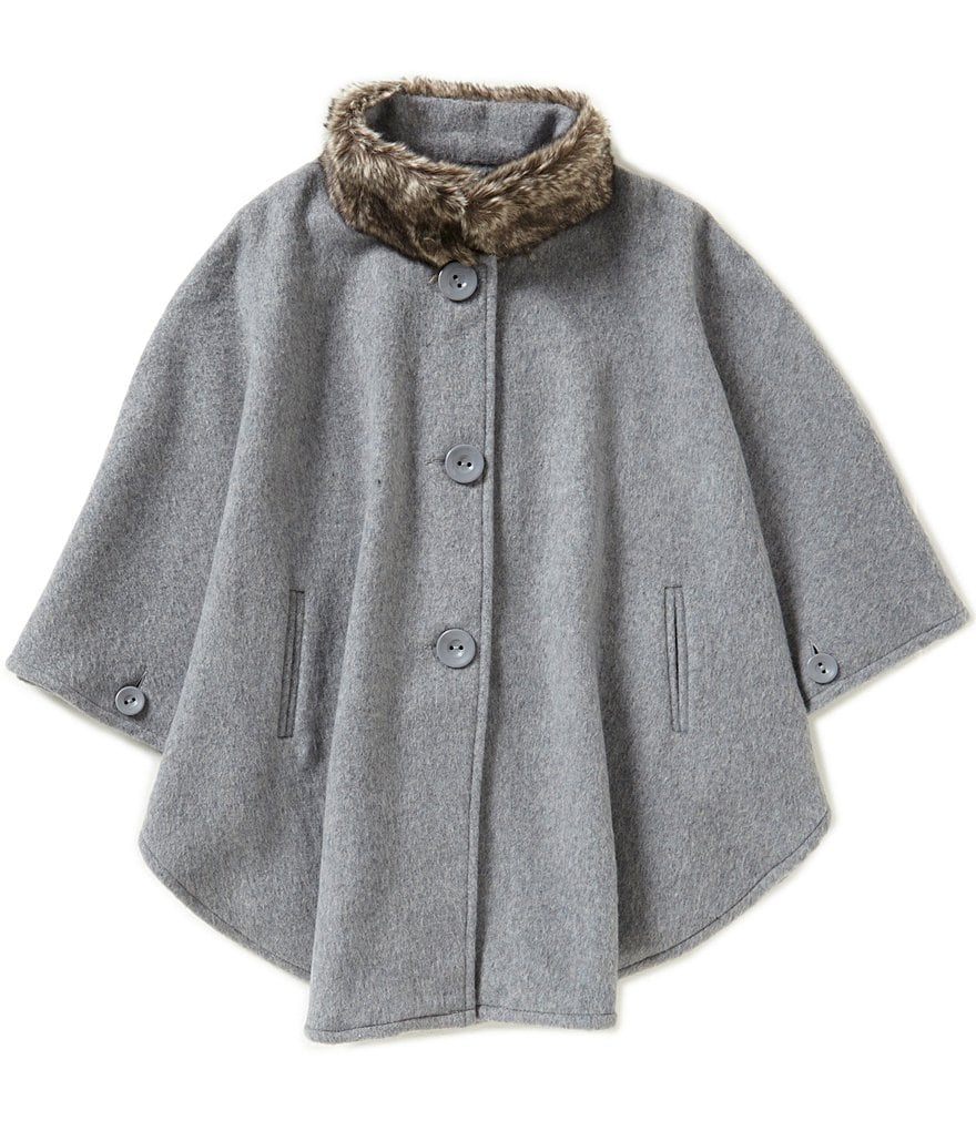 Copper Key Big Girls 7-16 Faux Fur Trimmed Wool Cape