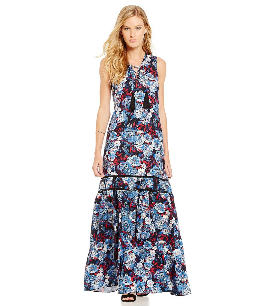 devlin Cassie Floral Charmeuse Dress