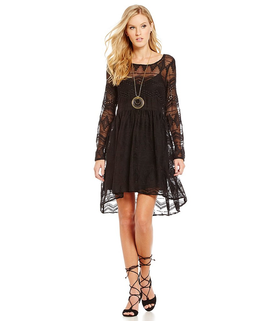 devlin Miranda Embroidered Long Sleeve Dress