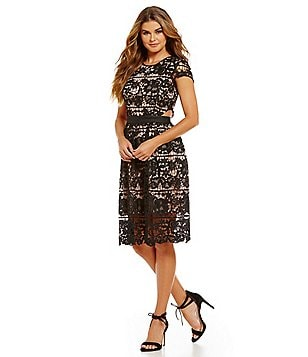 devlin Rodan Fit-and-Flare Lace Dress