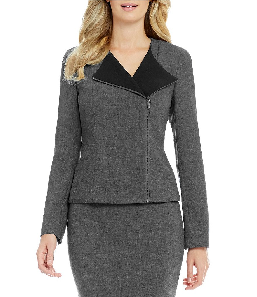 Calvin Klein Contrast Wing Collar Side Zip Jacket