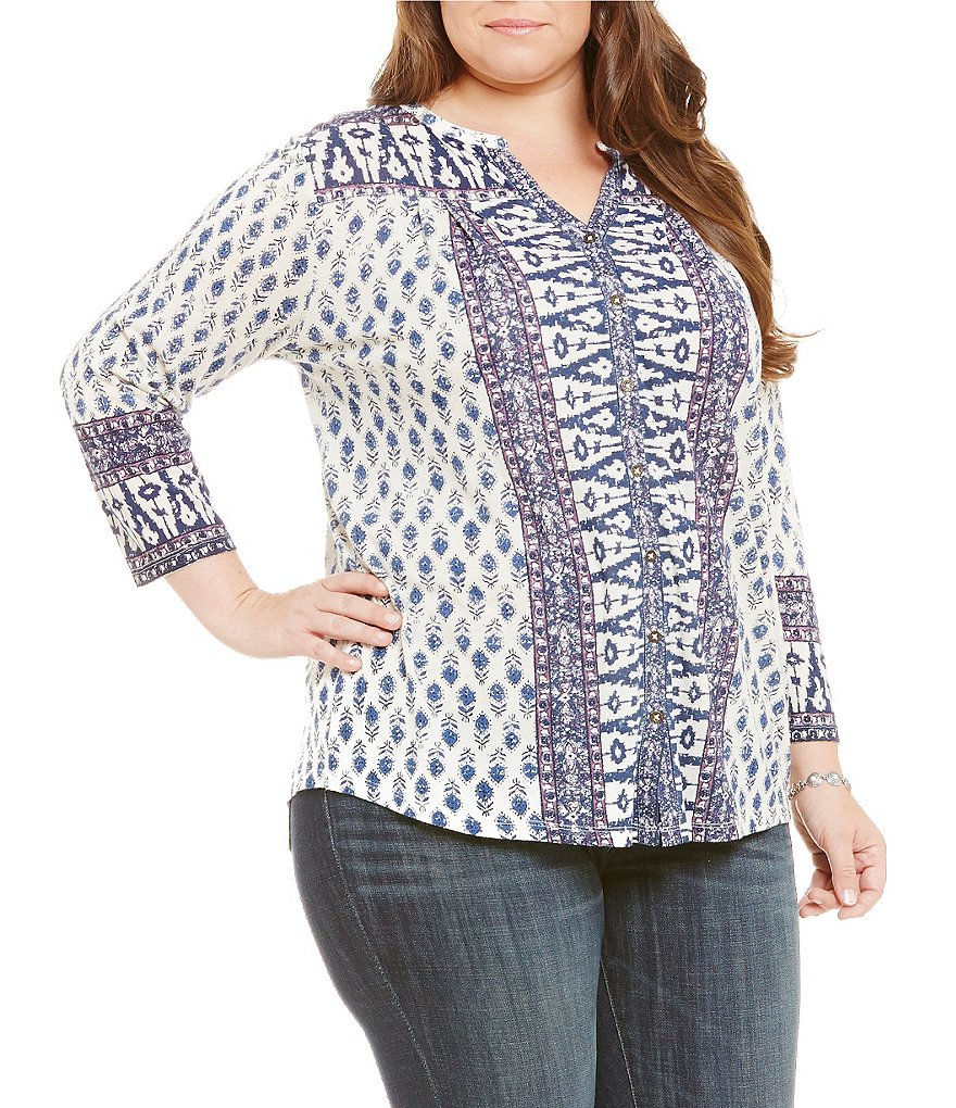 Lucky Brand Plus Woodblock Print 3/4 Sleeve Top