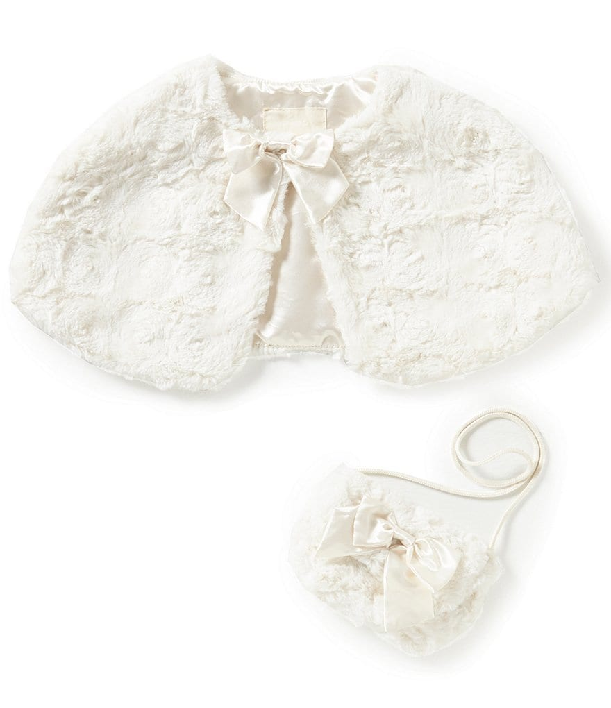 Copper Key Little Girls Cropped Faux-Fur Bow Capelet