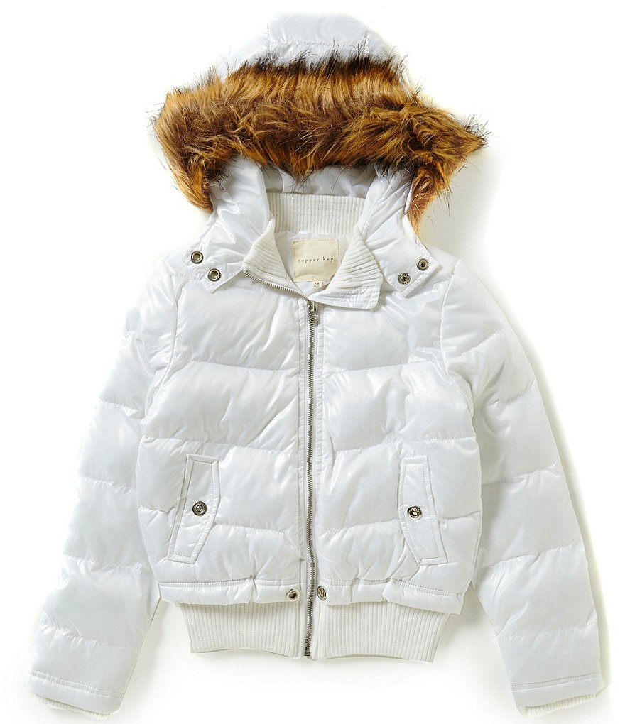 Copper Key Big Girls 7-16 Quilted Faux-Fur Hooded Bomber Jacket
