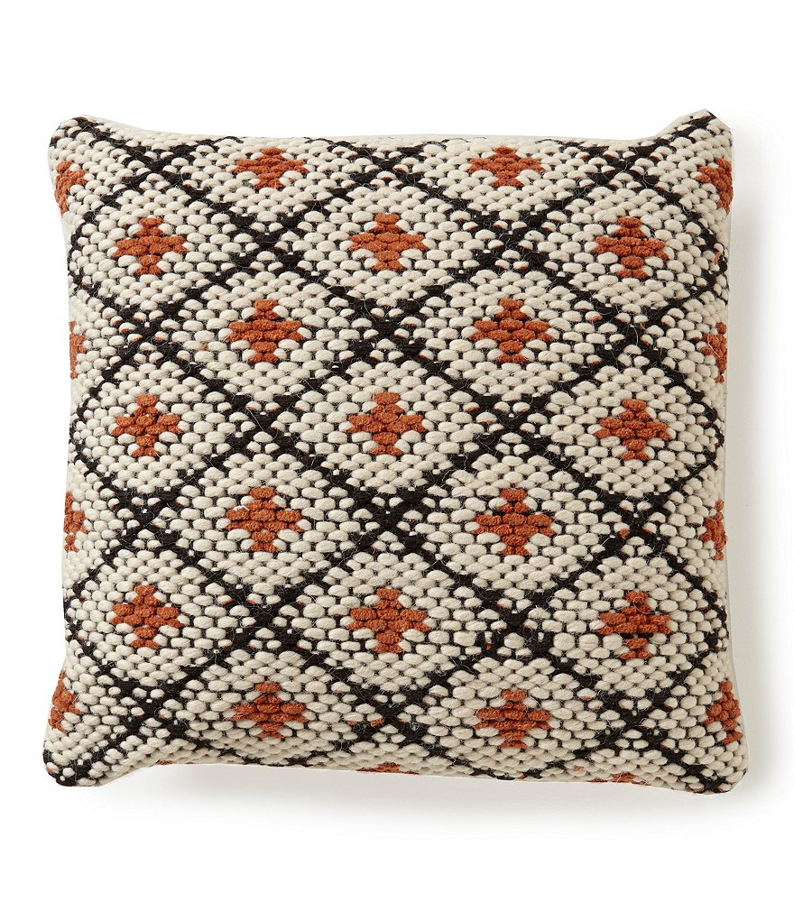 Noble Excellence Nature's Neutrals Diamond Pit Loom Square Pillow