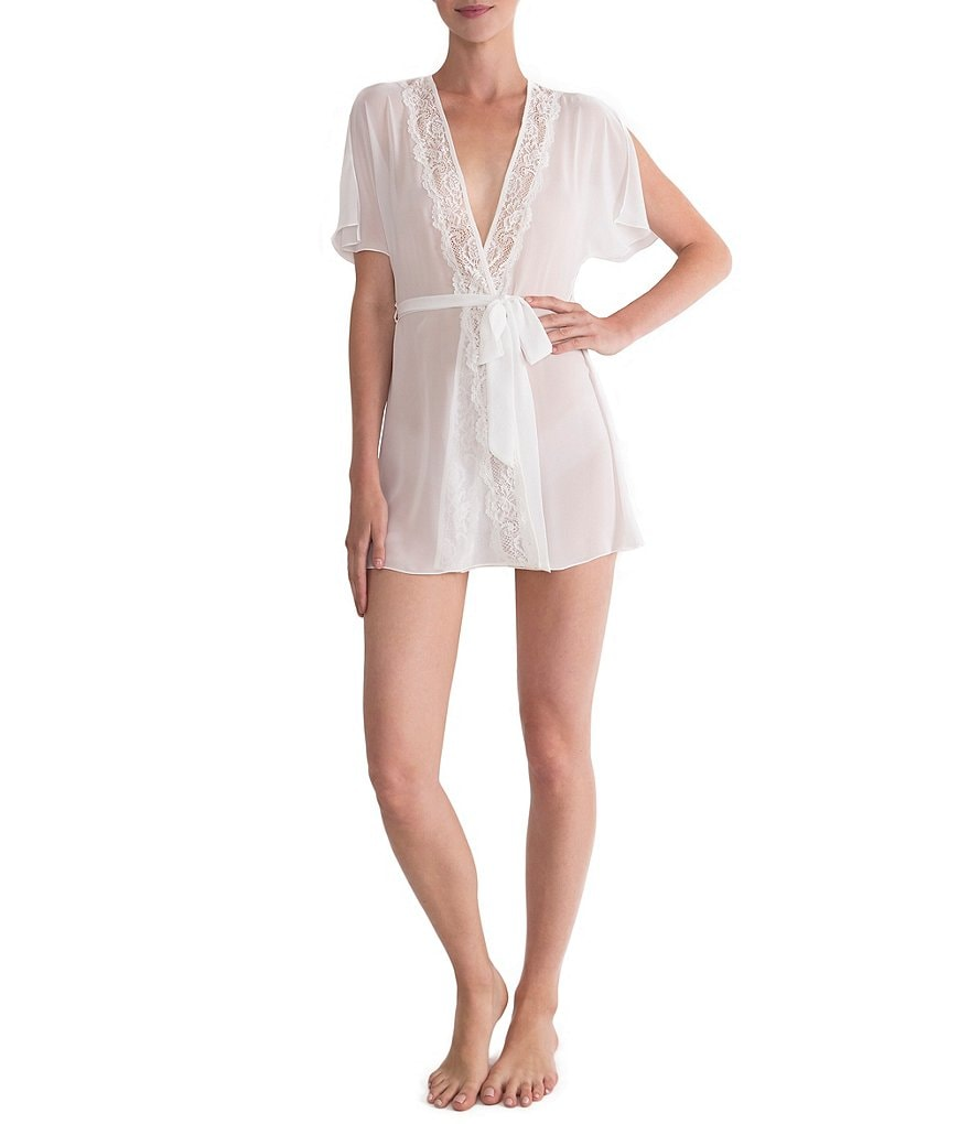In Bloom by Jonquil Chiffon & Lace Short Wrap Robe