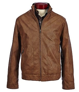 Roundtree & Yorke Faux-Leather Full-Zip Jacket