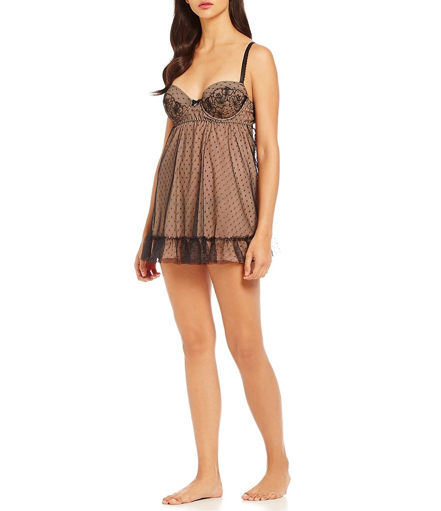 Cinema Etoile Natalie Dotted Tulle & Floral Lace Babydoll