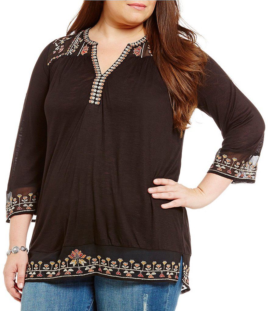 Lucky Brand Plus Embroidered Yoke Top