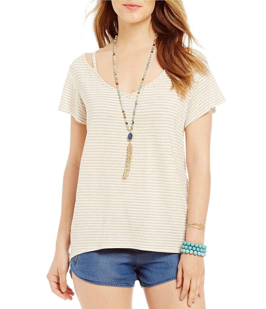 Copper Key Cut Out Striped Knit Tee