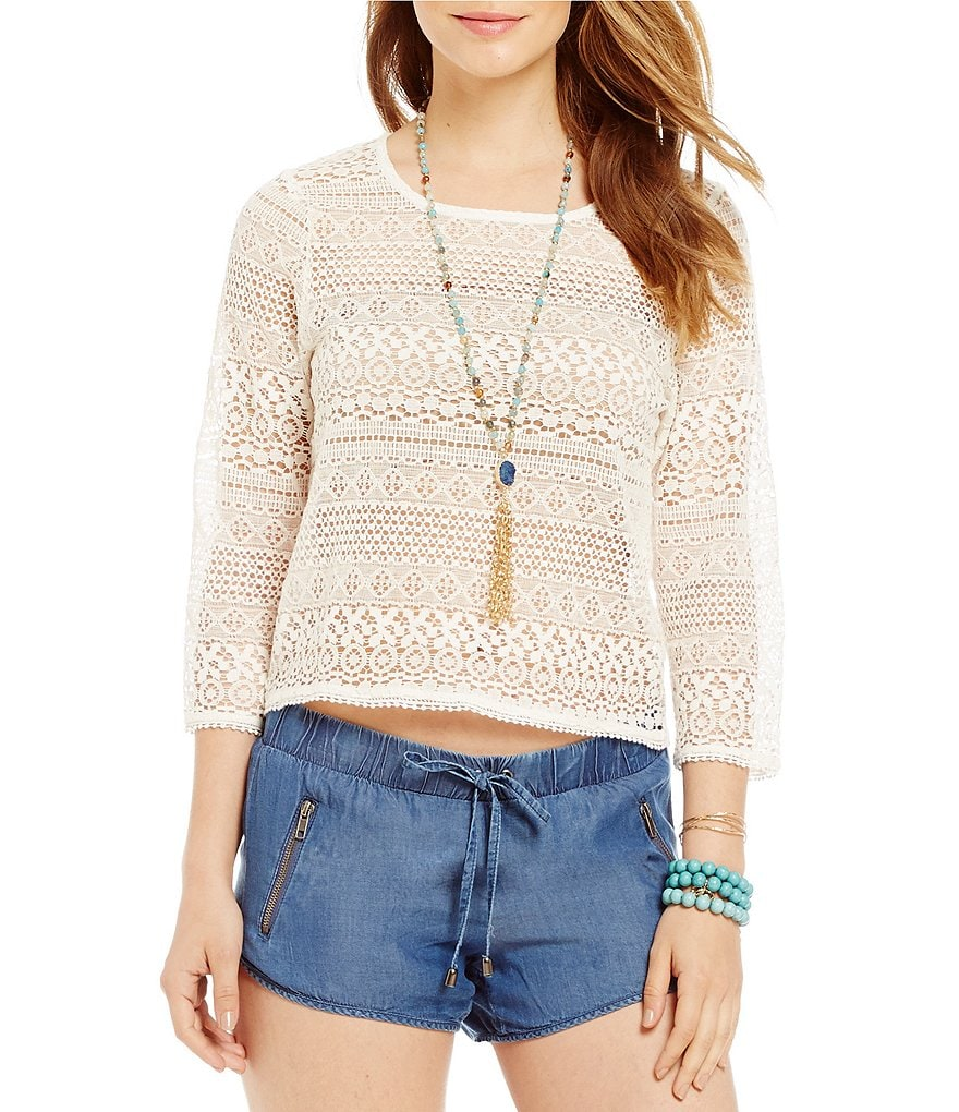 Copper Key Crochet Pom Pom Top