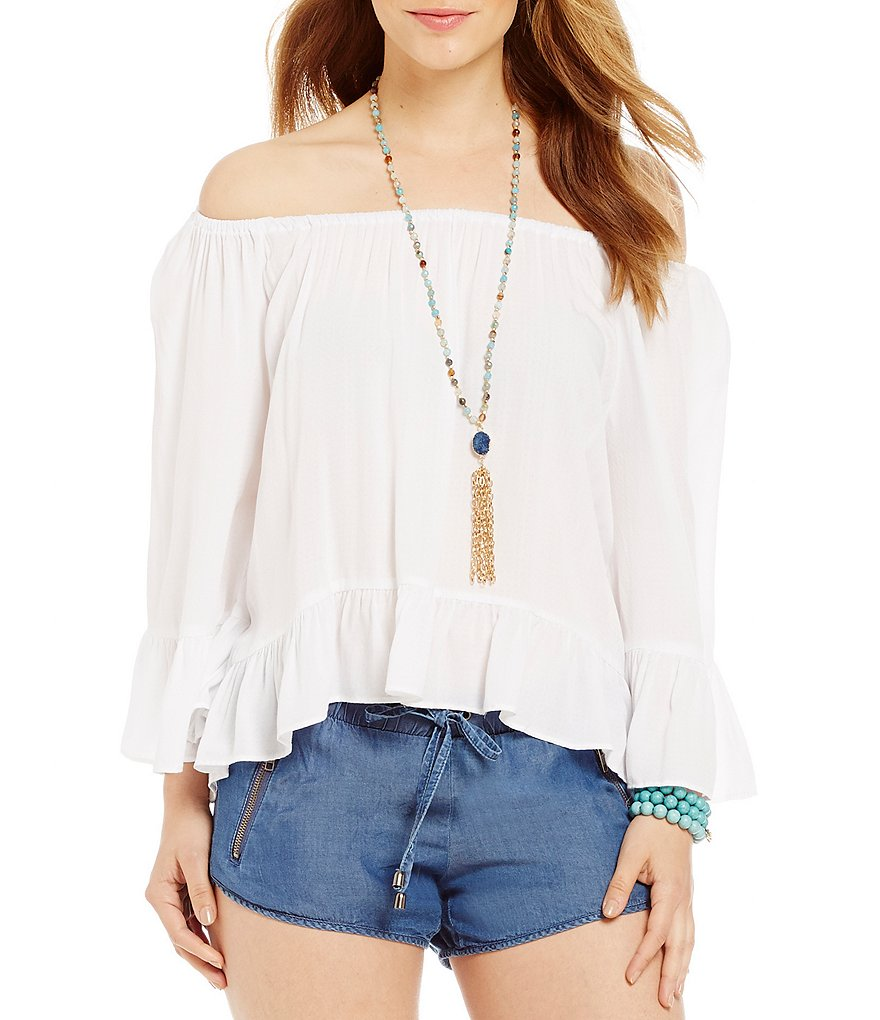 Copper Key Off-The-Shoulder Ruffle Peasant Blouse