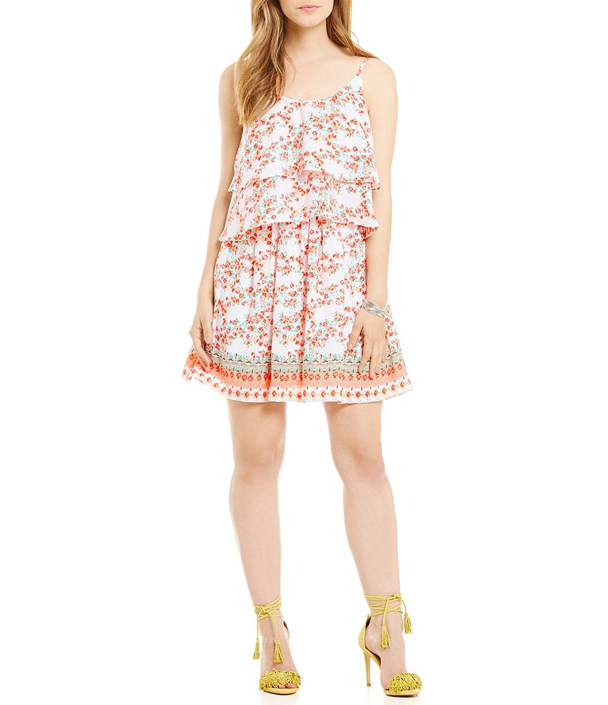 Copper Key Tiered Floral Dress
