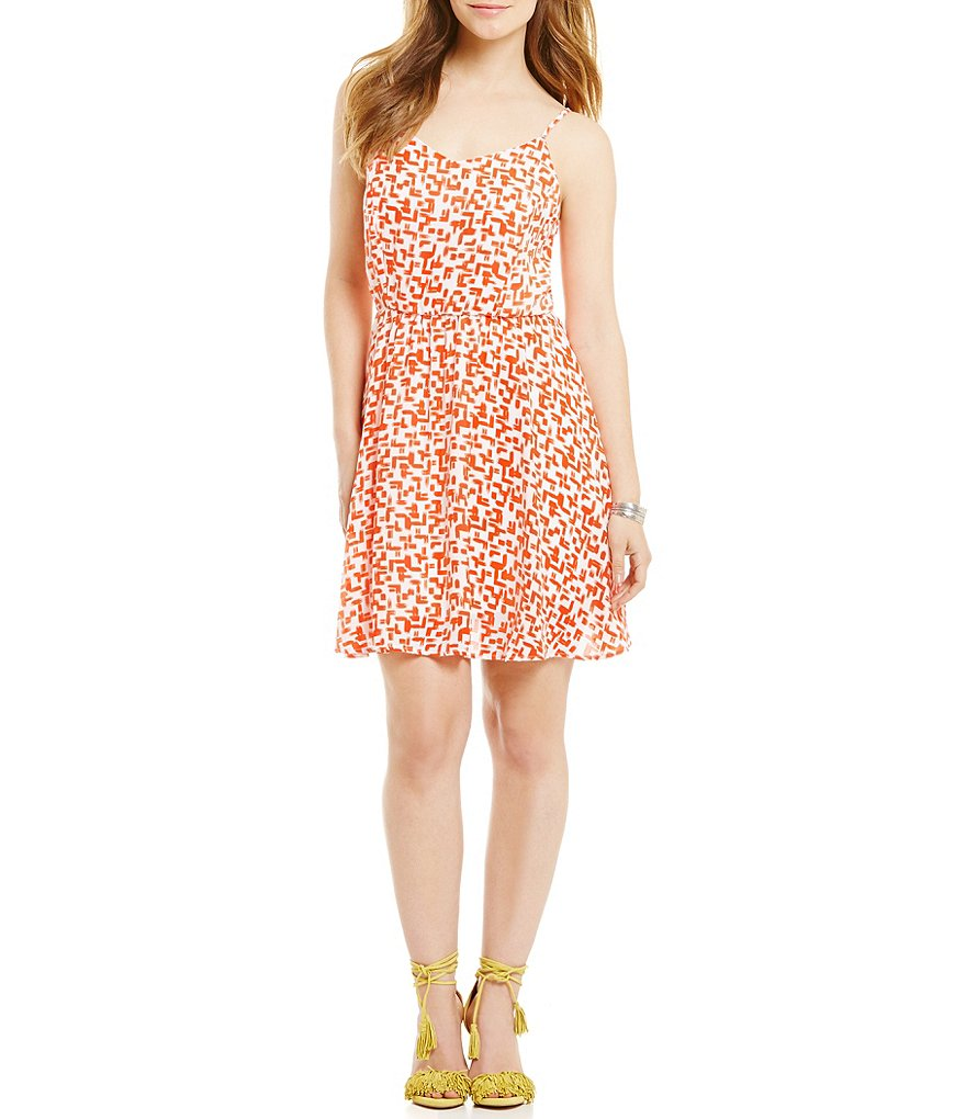 Copper Key Geo-Print Dress