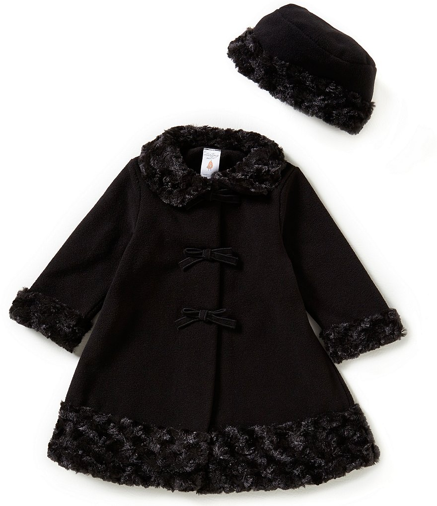 Starting Out Baby Girls 12-24 Months Swirl Faux-Fur Bow Coat