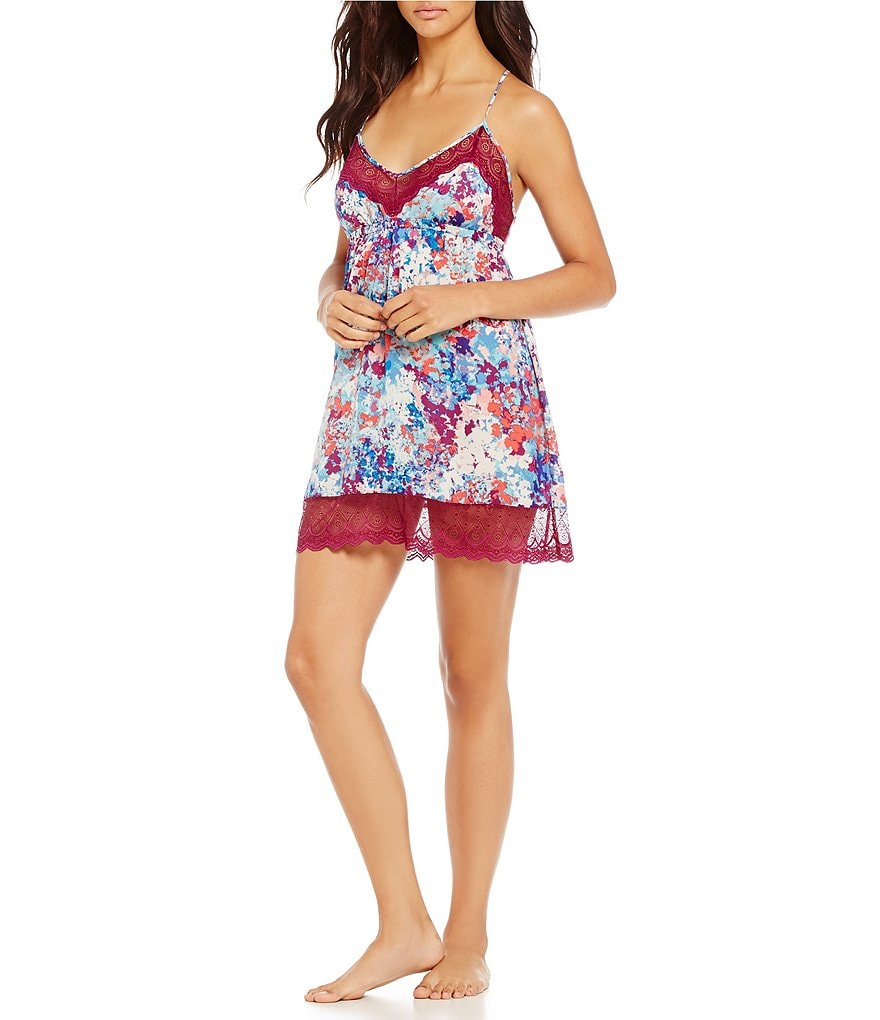 In Bloom by Jonquil Olivia Floral Satin & Lace Chemise