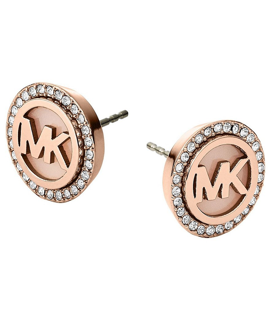 Michael Kors Pavé Logo Stud Earrings