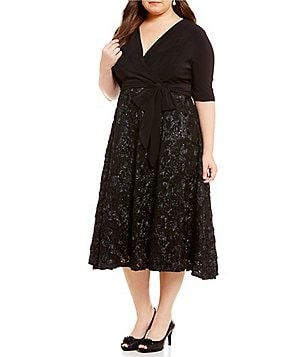 Alex Evenings Plus Tea-Length Rosette Skirt Party Dress