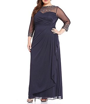Alex Evenings Plus A-Line Sweetheart Illusion Neck 3/4 Sleeve Gown