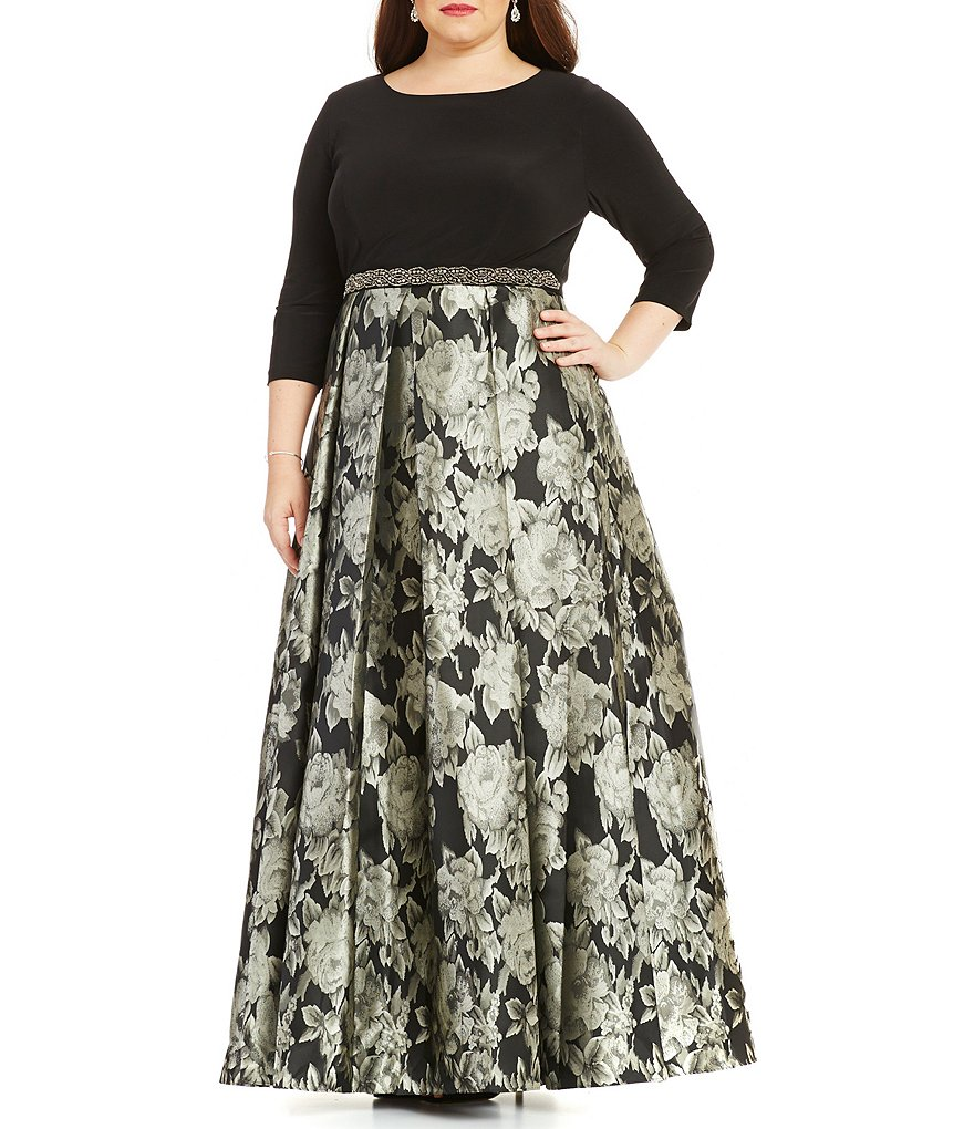 Alex Evenings Plus Floral-Print Ballgown