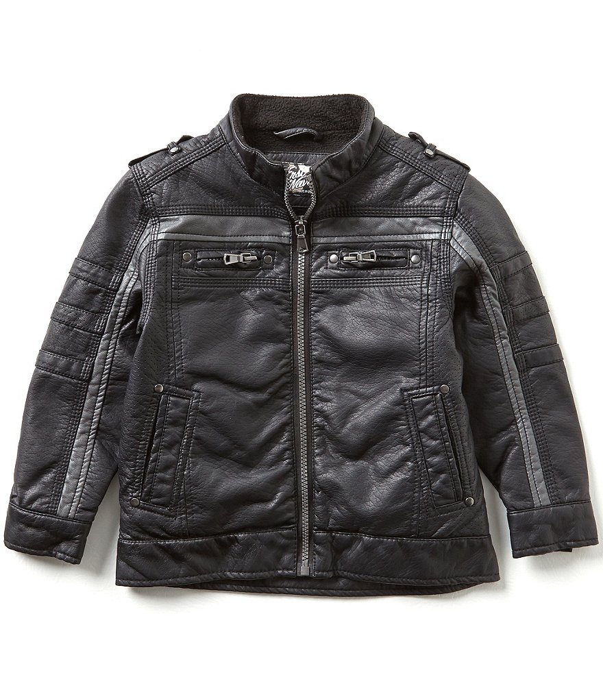 First Wave Little Boys 2T-7 Faux-Leather Striped Moto Jacket