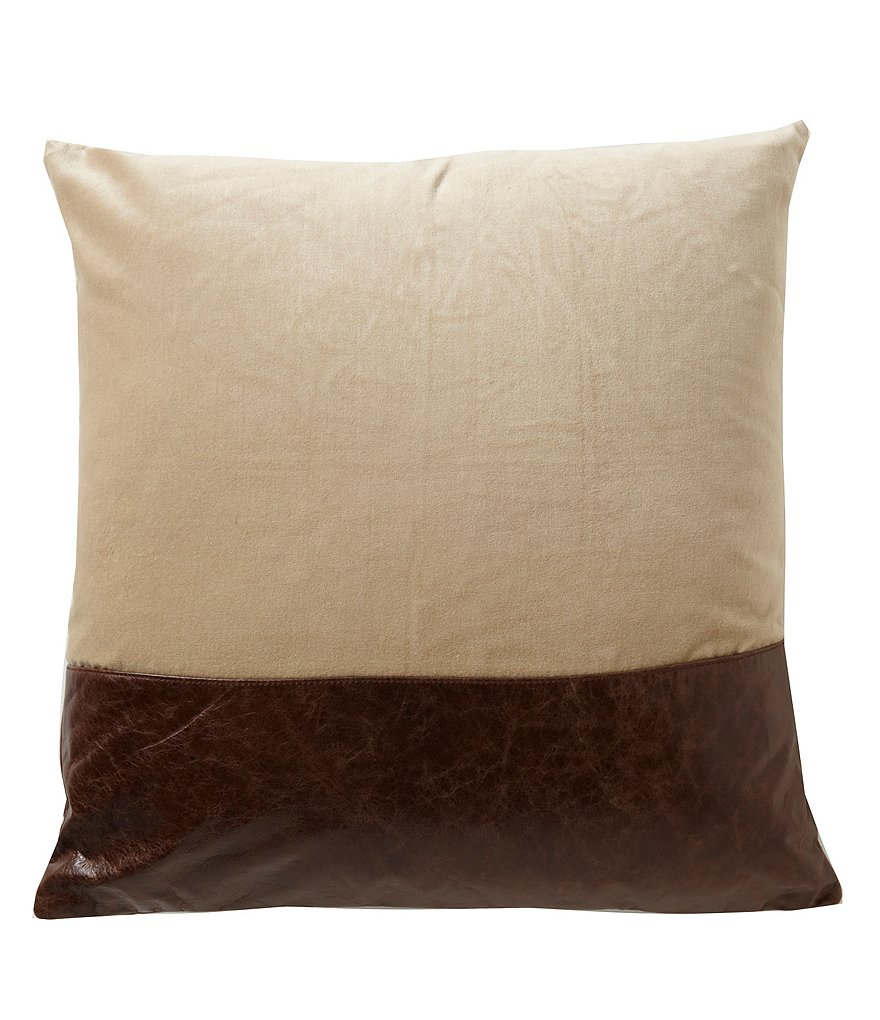 Southern Living Oversized Reversible Leather & Velvet Square Pillow