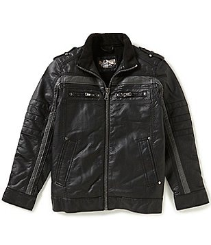 First Wave Big Boys 8-20 Striped Faux-Leather Moto Jacket