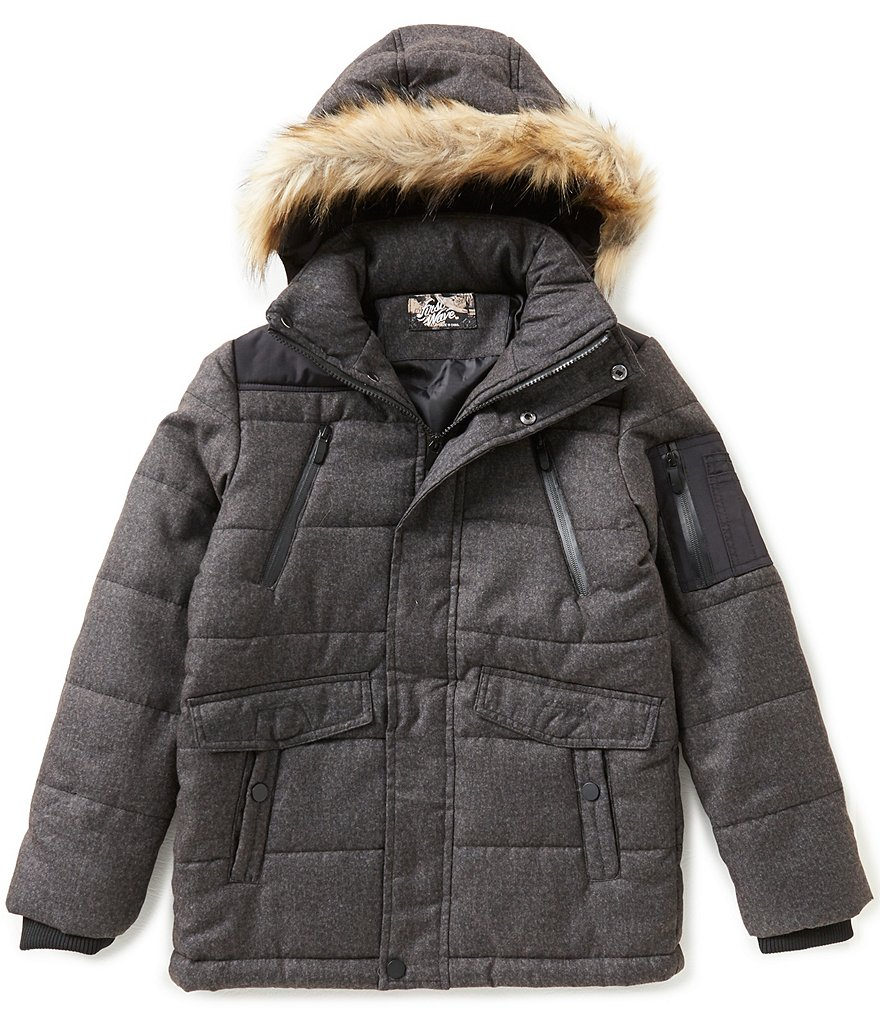 First Wave Big Boys 8-20 Crosshatch Faux-Fur Hooded Puffer Jacket