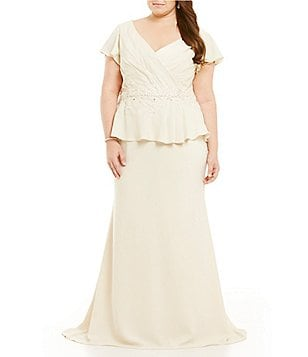 MGNY Madeline Gardner New York Plus Embellished Peplum Gown