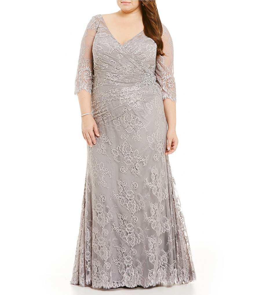 MGNY Madeline Gardner New York Plus Beaded V-Neck Lace Gown