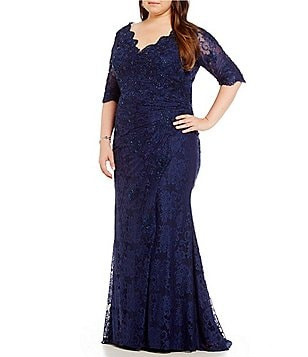 MGNY Madeline Gardner New York Plus Embellished Lace Gown