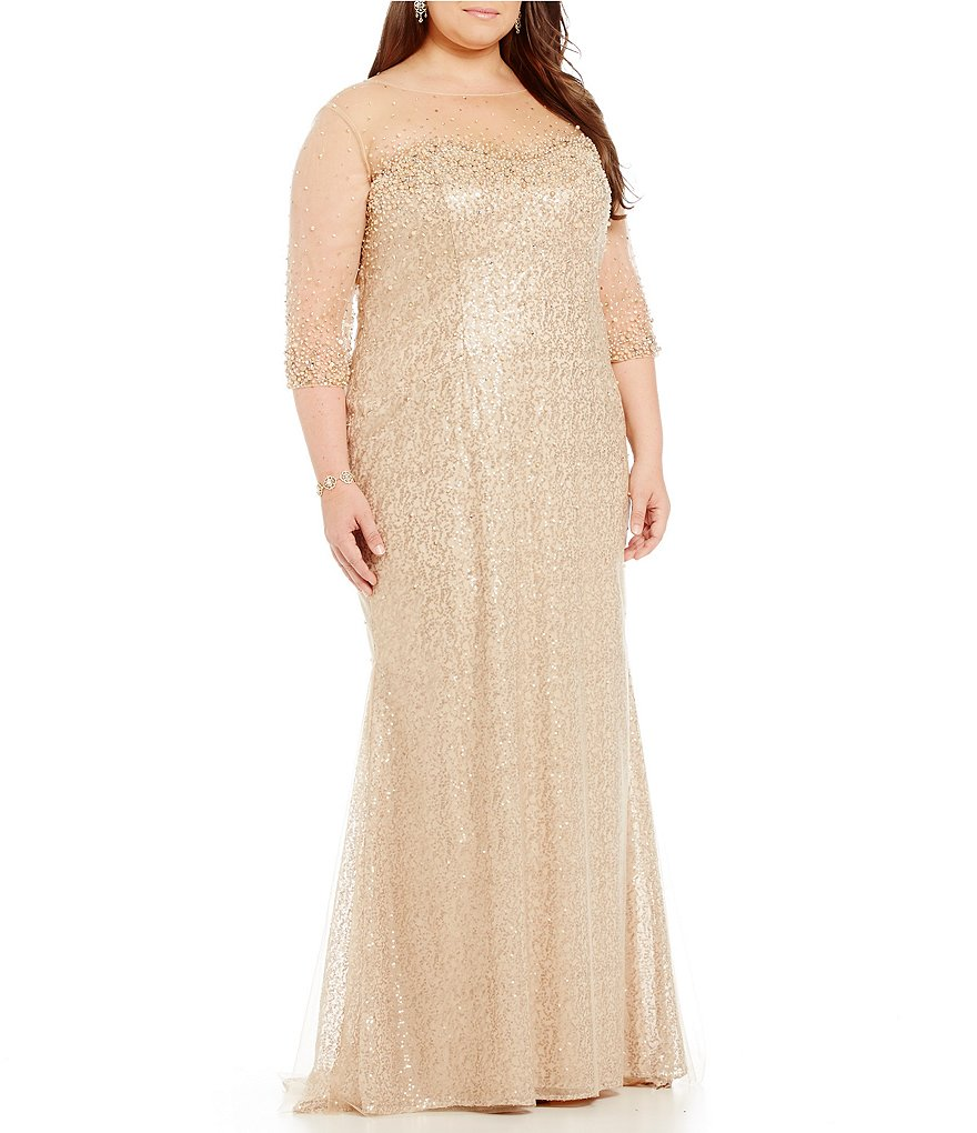MGNY Madeline Gardner New York Plus Illusion Sequin Gown