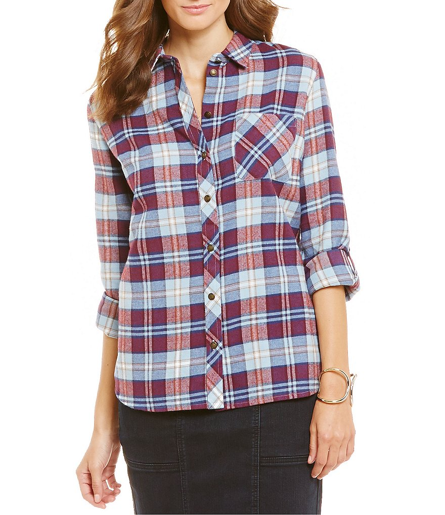 KUT from the Kloth Kayla Plaid Print Button Front Shirt