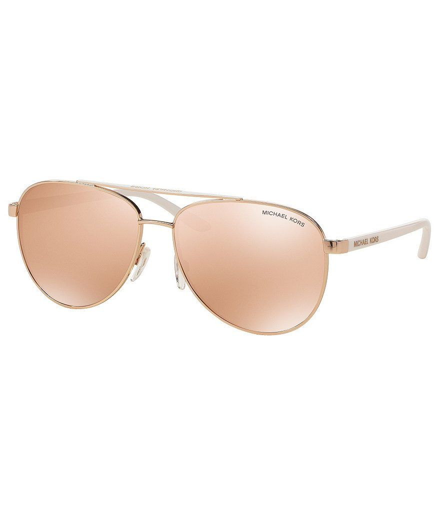 Michael Kors Hvar Sporty Flash/Mirror Aviator Sunglasses