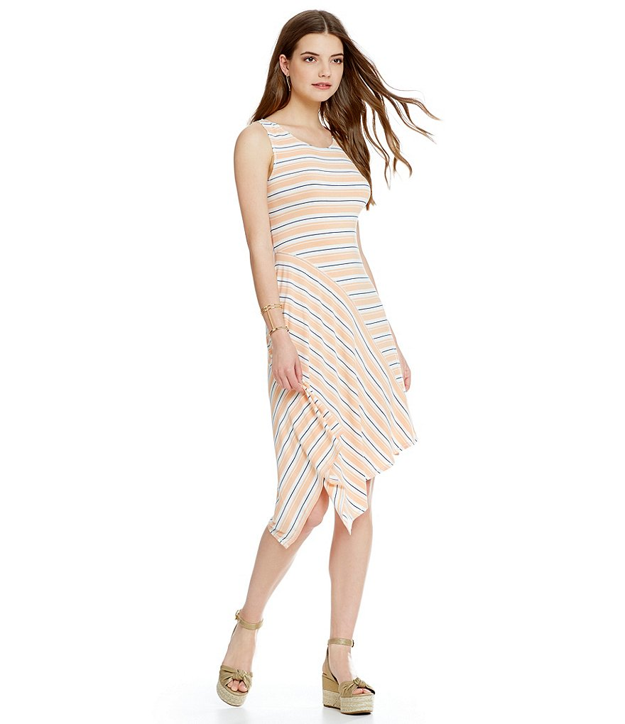 M.S.S.P. Asymmetrical Stripe Jersey Knit Dress