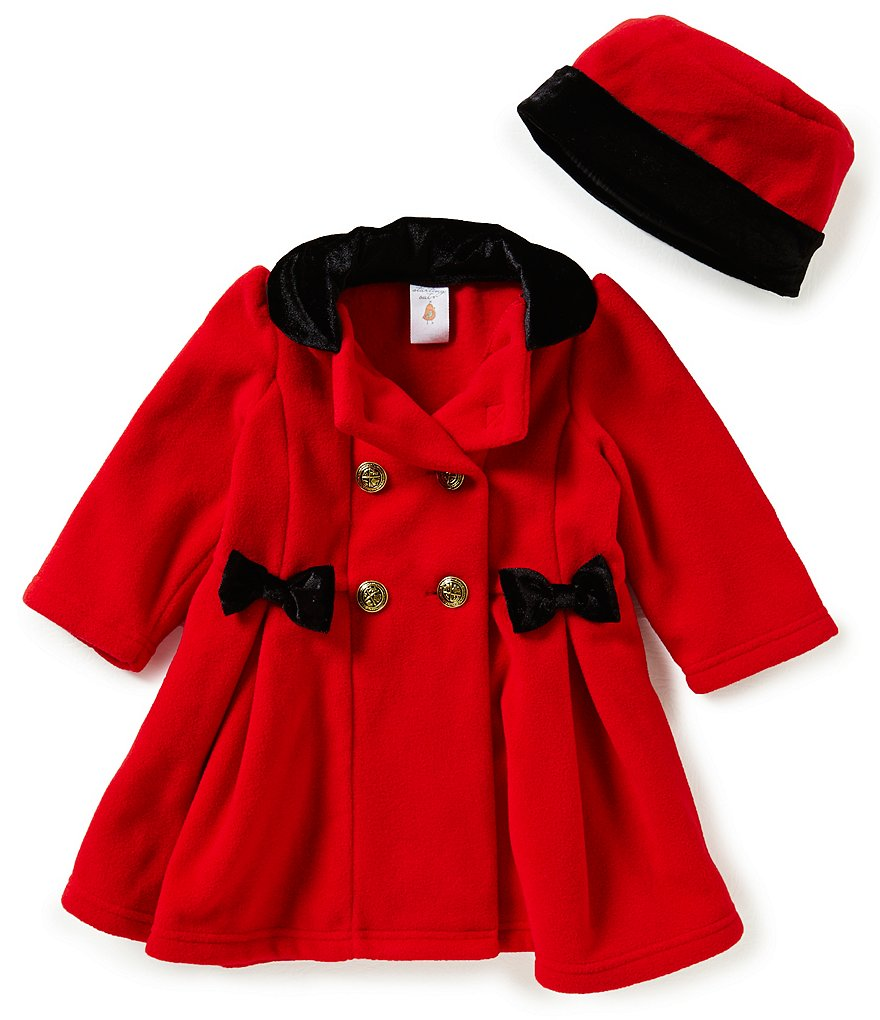 Edgehill Collection Baby Girls 12-24 Months Double-Breasted Velvet Collar Coat