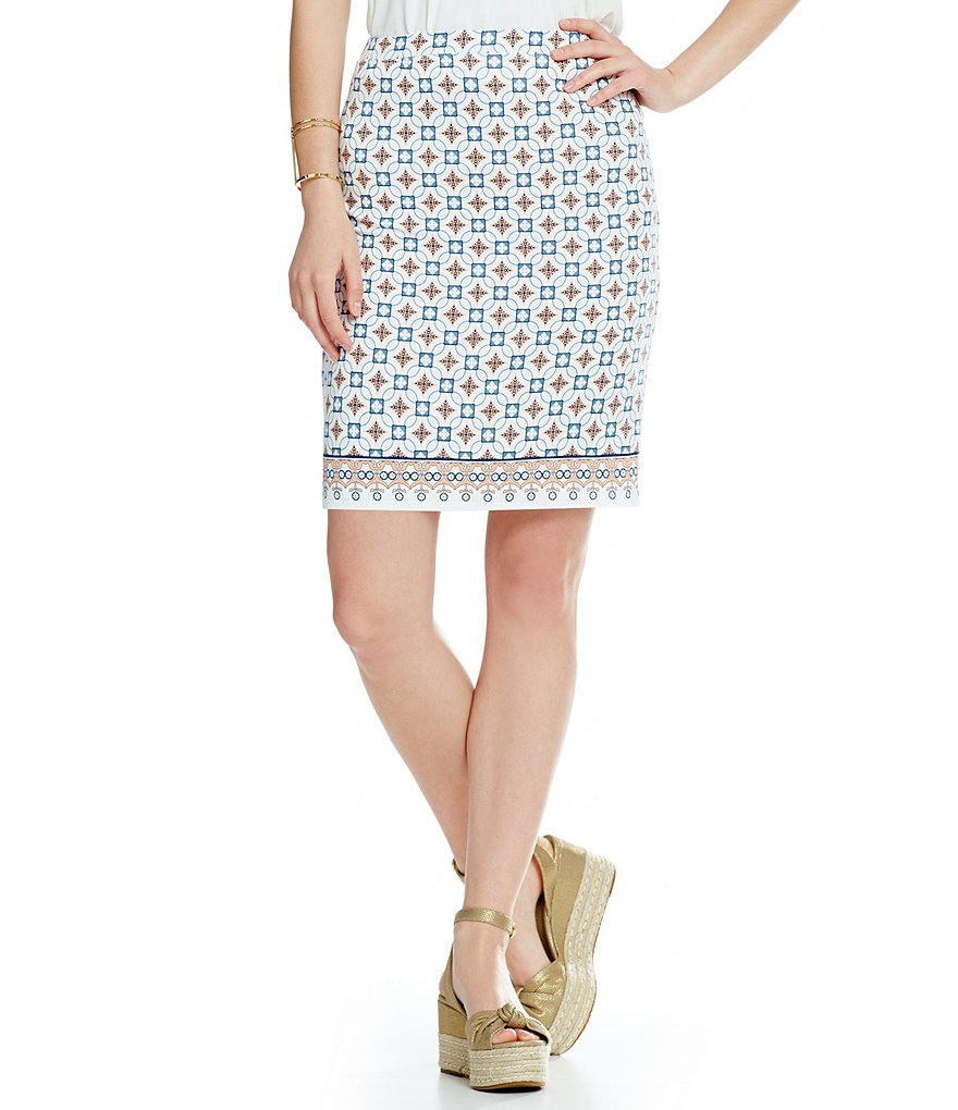 M.S.S.P. Printed Jersey Knit Pencil Skirt