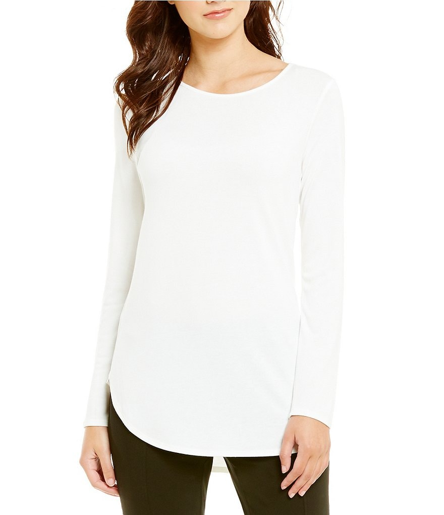 Calvin Klein Hi-Low Knit Jersey Long Sleeve Tunic