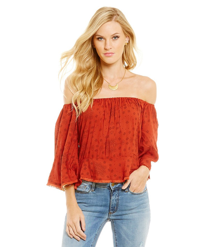 Buffalo David Bitton Twayn Off-the-Shoulder Bell Sleeve Crop Top