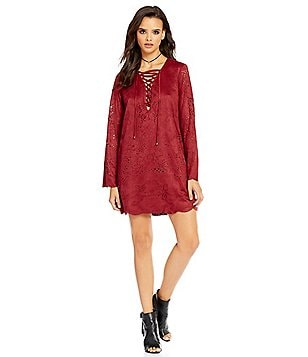 Buffalo David Bitton Everitt Faux Suede Lace-Up Bell Sleeve Dress