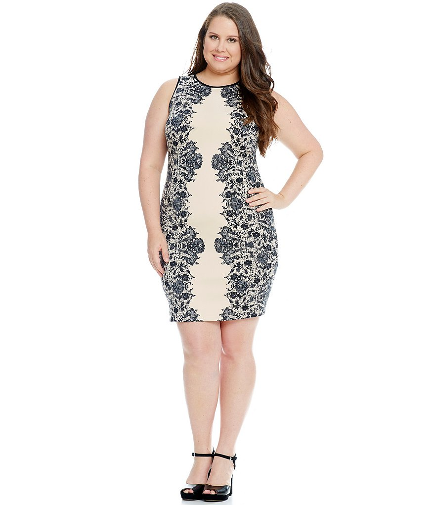 B. Darlin Plus Lace Print Sheath Dress