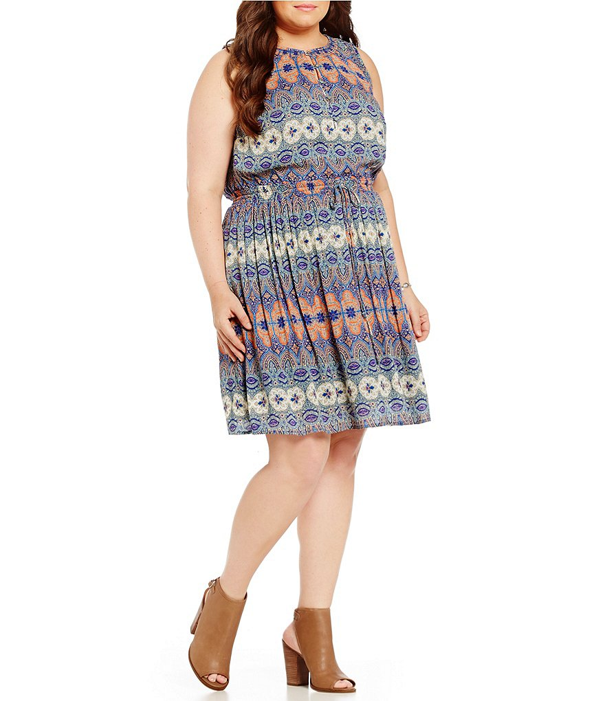 Lucky Brand Plus Stained Glass Print Dress