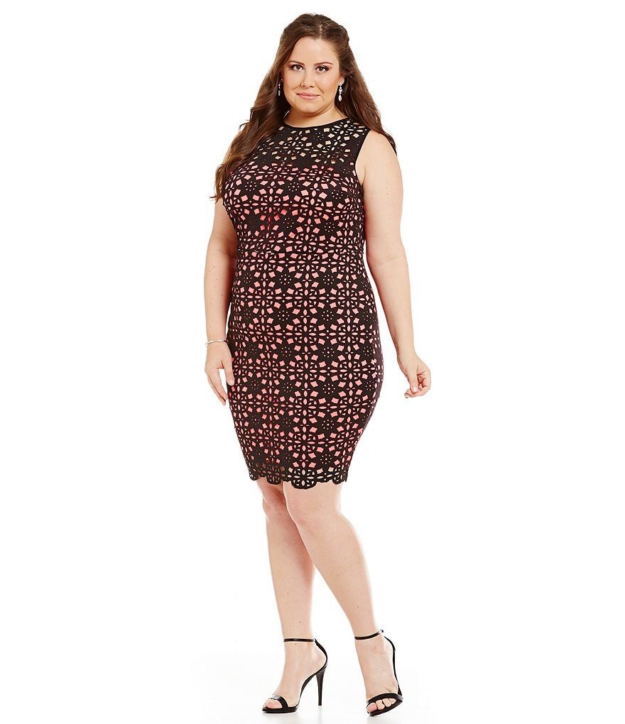 B. Darlin Plus Laser Cut Sheath Dress